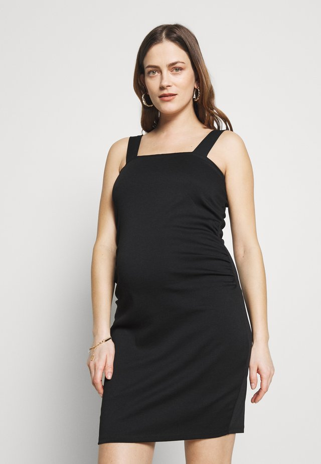 MATERNITY ROUCHED MINI DRESS - Day dress - black