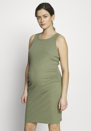 MATERNITY HIGH NECK MIDI DRESS - Vestido ligero - olive green