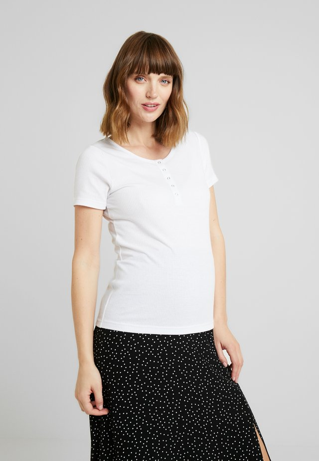 MATERNITY HENLEY SHORT SLEEVE - T-shirt basic - white