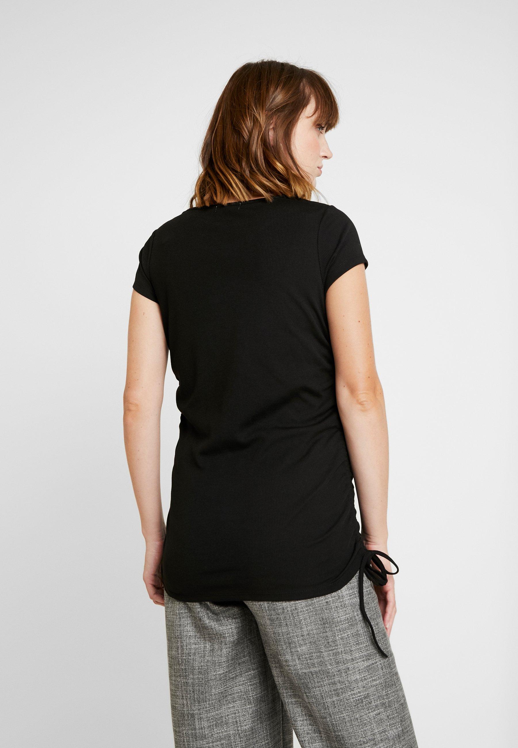 Cotton On SIDE TIE SHORT SLEEVE - T-shirts med print - black