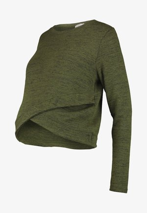 MATERNITY CROSS OVER FRONT LONG SLEEVE - Sweter - olive night