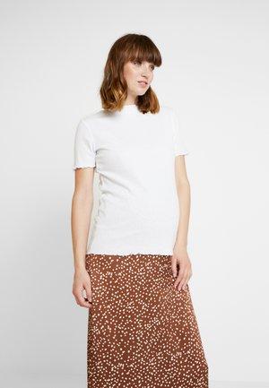 LETTUCE EDGE MOCK NECK SHORT SLEEVE  - T-shirts - white