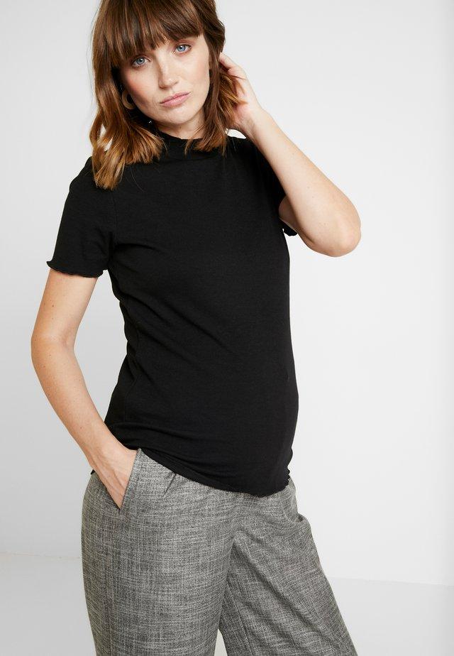 LETTUCE EDGE MOCK NECK SHORT SLEEVE  - Basic T-shirt - black