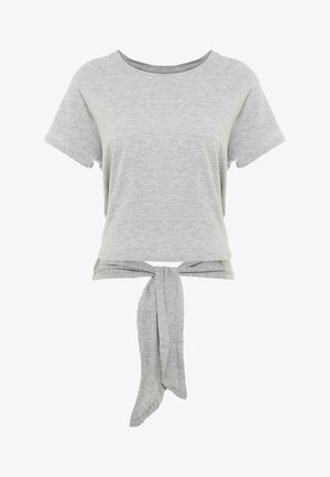 KNOTTED HEM - Print T-shirt - mid grey marle