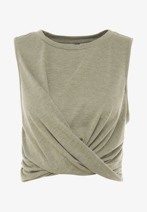 CROP TWIST FRONT TANK - Top - olive branch