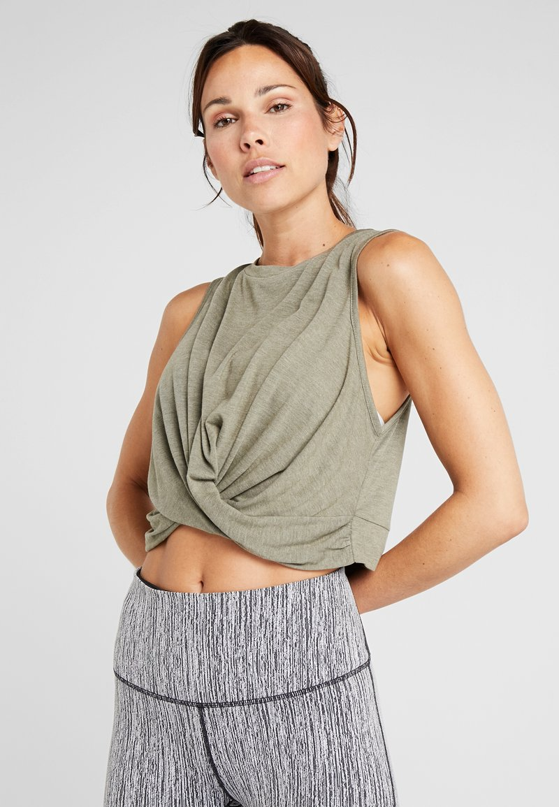 Cotton On Body - CROP TWIST FRONT TANK - Top - olive branch