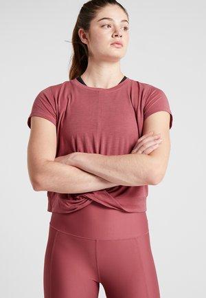 TWIST FRONT ACTIVE - T-shirt imprimé - rose sangria