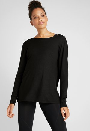 BACK TWIST LONG SLEEVE - Stickad tröja - black