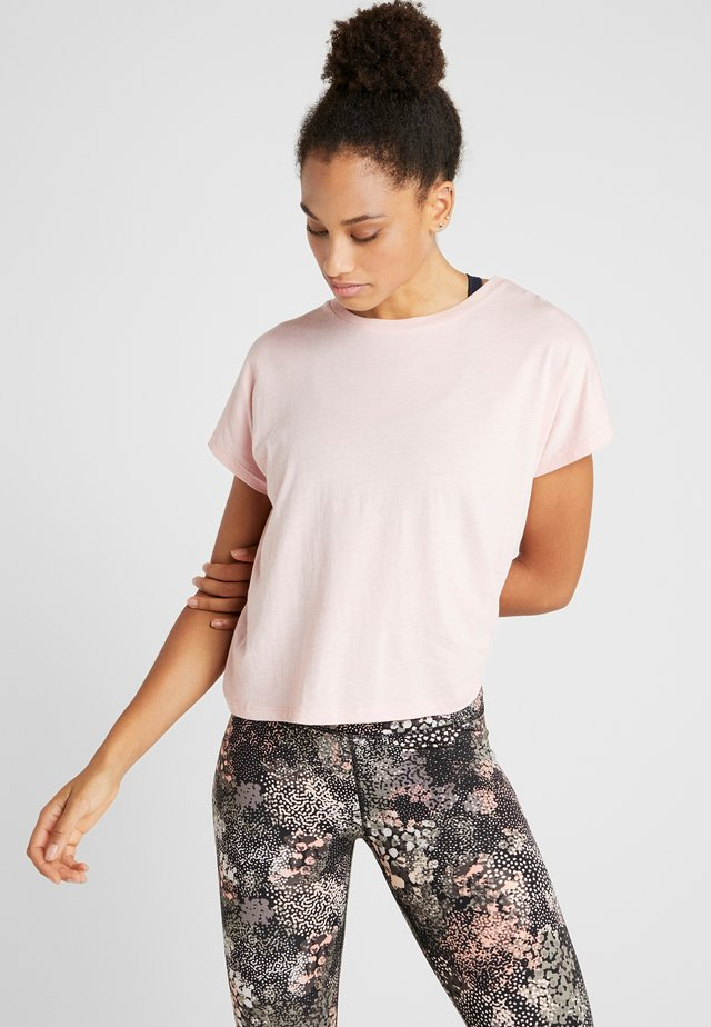 DROP SLEEVE TIE BACK - Print T-shirt - soft cameo pink marle