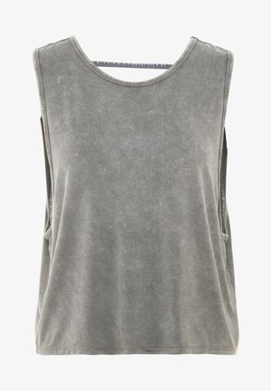 CROPPED KEY HOLE WASHED TANK - Top - asphalt