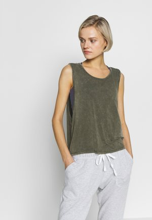 CROPPED KEY HOLE WASHED TANK - Top - khaki
