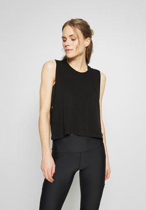 CROPPED KEY HOLE WASHED TANK - Top - black