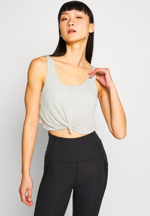 TIE UP CROP - Top - washed aloe marle
