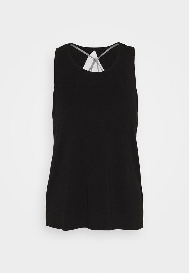 TWO IN ONE TWIST TANK - Linne - black/grey marle