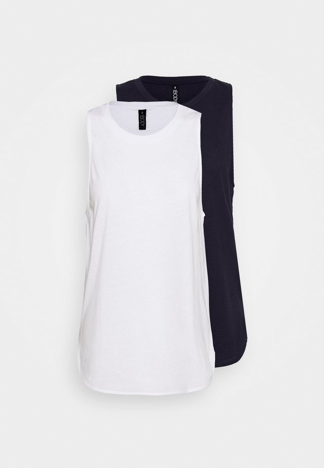 ACTIVE CURVE HEM TANK TOP 2PACK - Topper - white/navy