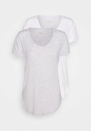 GYM 2 PACK - T-Shirt basic - grey marle/white