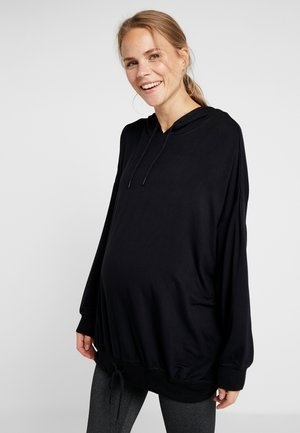 MATERNITY LONG LINE HOODIE - Jersey con capucha - black