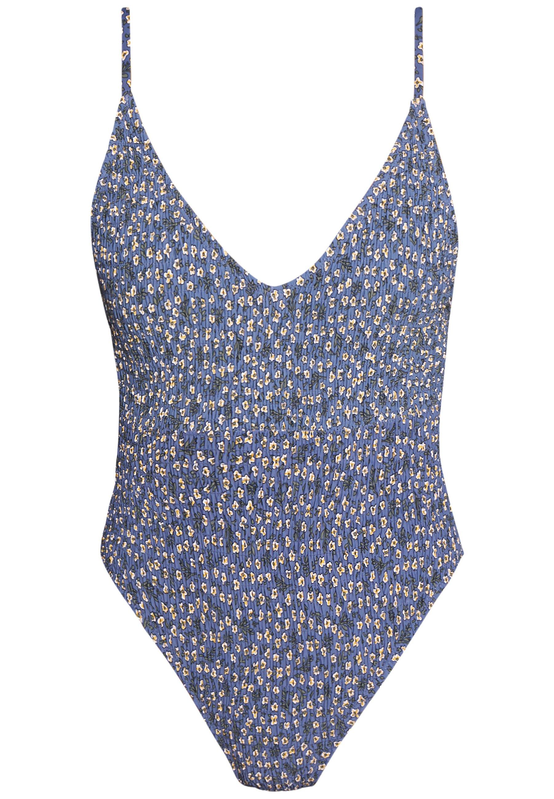 Cotton On Body SHIRRED DEEP V ONE PIECE CHEEKY - Badedrakt - blue