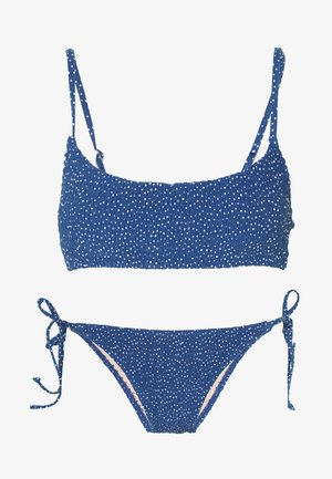 SCOOP CROP TIE SIDE SET - Bikini - marina blueirregular