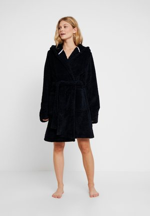 HOODED LUXE PLUSH GOWN - Dressing gown - navy textured