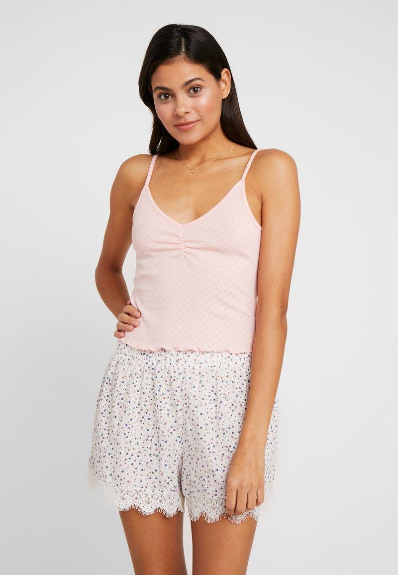 Cotton On Body - POINTELLE TANK TRIM SHORT SET - Piżama - soft cameo pink marle/tossed white
