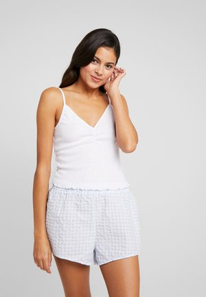 POINTELLE TANK TRIM SHORT SET - Piżama - white/baby blue