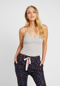Cotton On Body - POINTELLE TANK DROP CROTCH PANT SET - Pyjamaser - grey marle/navy - 3