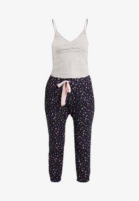 Cotton On Body - POINTELLE TANK DROP CROTCH PANT SET - Pyjamaser - grey marle/navy - 4
