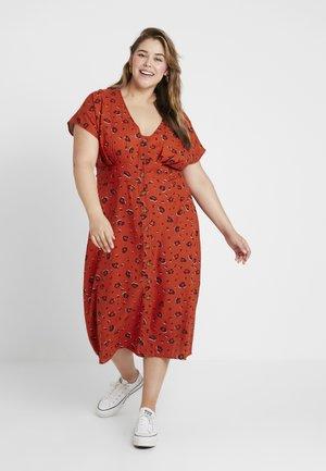 BUTTON FRONT MIDI DRESS - Košilové šaty - ochre