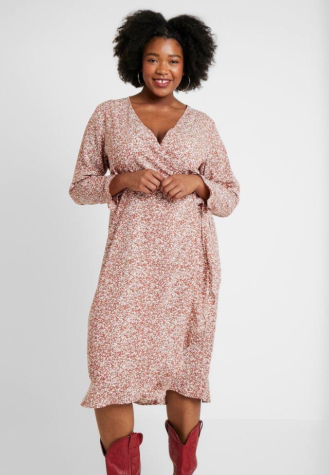 WILLOW WRAP MIDI DRESS - Day dress - brown