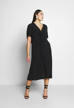 CURVE MARISSA GATHERED FRONT MIDI DRESS - Denní šaty - black