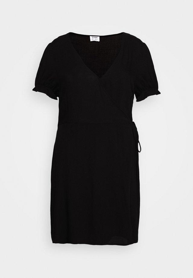 WRAP MIDI DRESS - Day dress - black