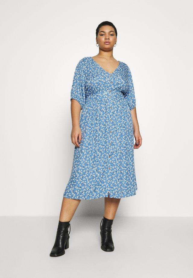 CURVE WOVEN PUFF SLEEVE MIDI DRESS - Skjortklänning - daisy parisian blue