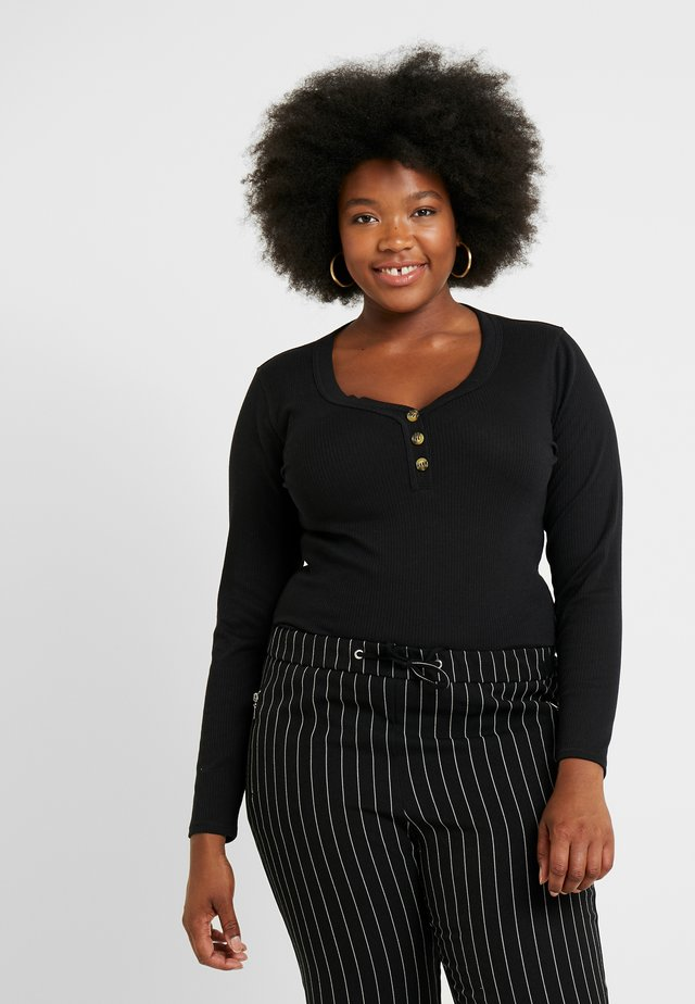 SCOOP NECK BUTTON FRONT LONG SLEEVE - Long sleeved top - black