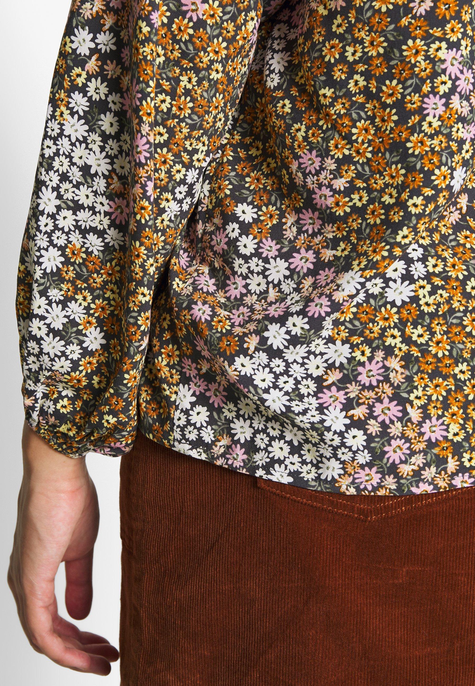Cotton On Curve CURVE MOCK NECK FRILL SLEEVE - Bluzka - multi-coloured