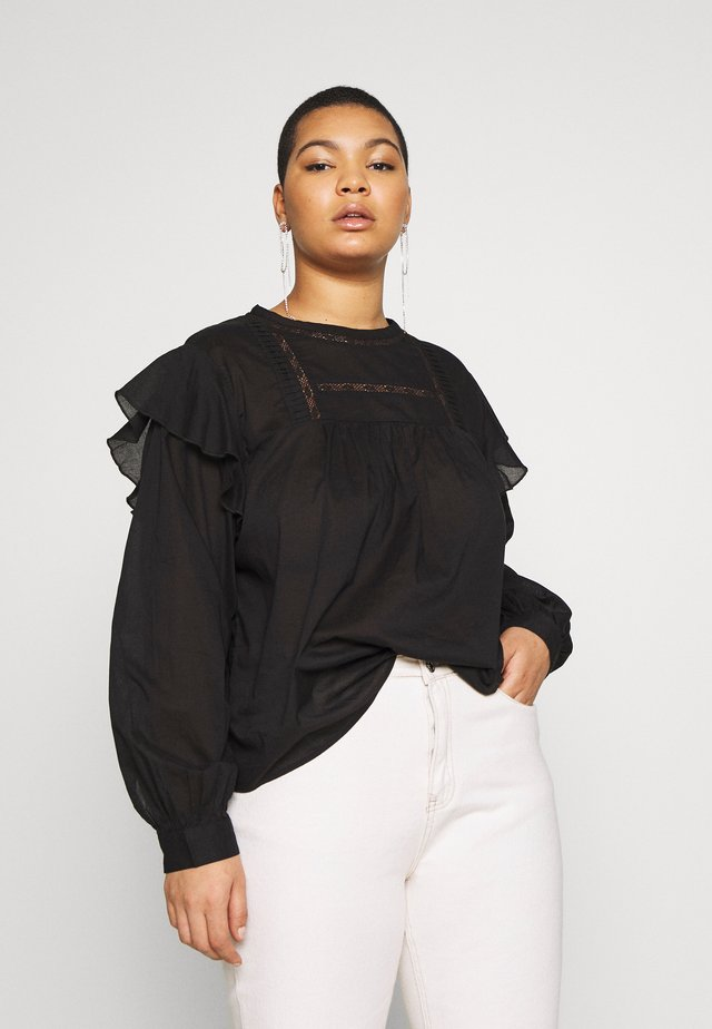 SMOCK BLOUSE - Bluzka - black