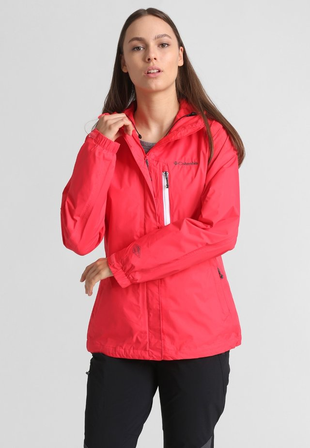 POURING ADVENTURE JACKET - Hardshellová bunda - red camellia/white