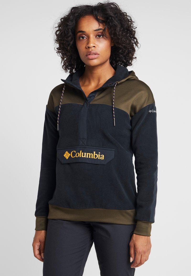 Columbia - EXPLORATION ANORAK - Felpa con cappuccio - black/olive green