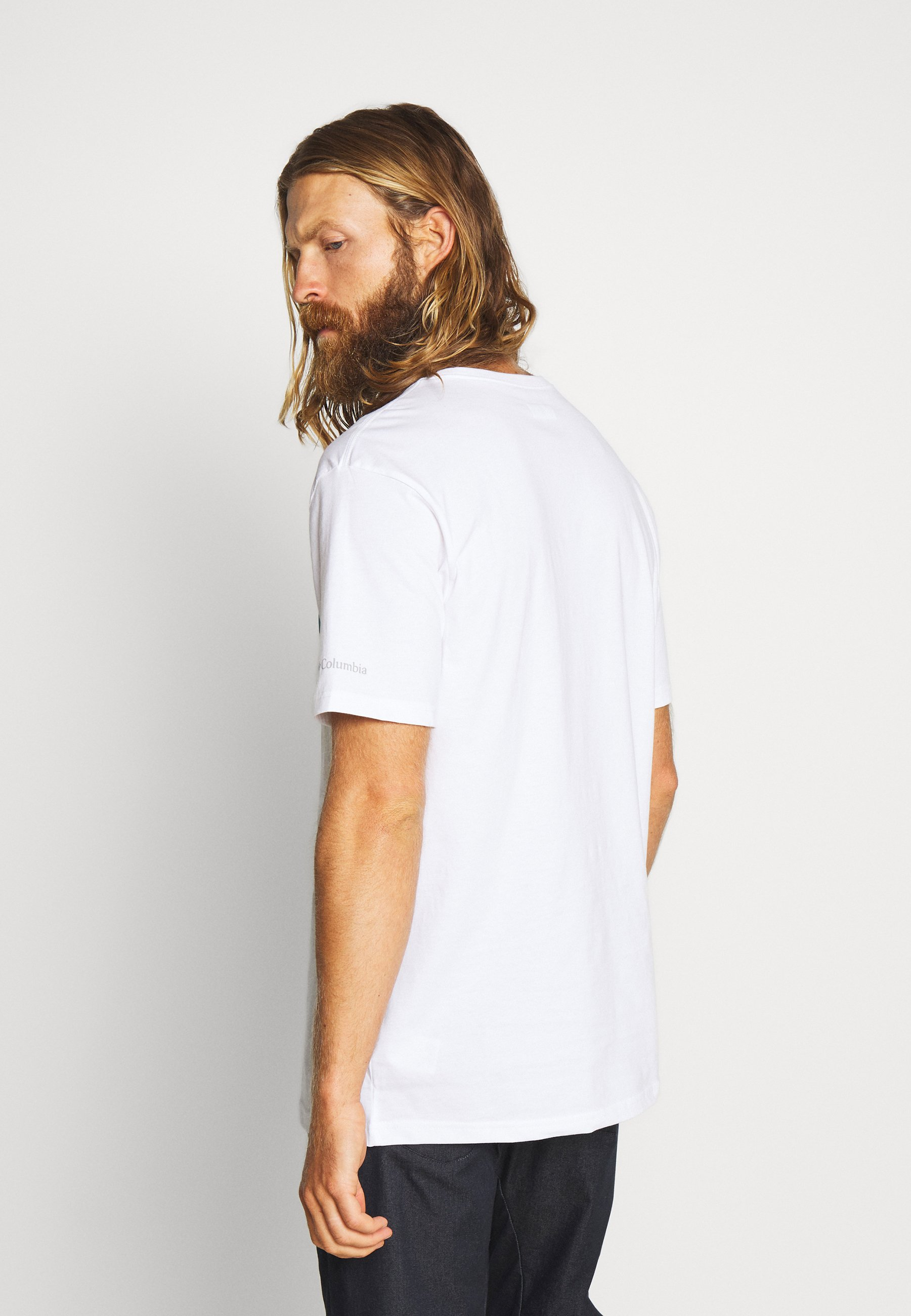 Columbia NORTH CASCADES SHORT SLEEVE - T-shirt med print - white/clear water/bright nectar