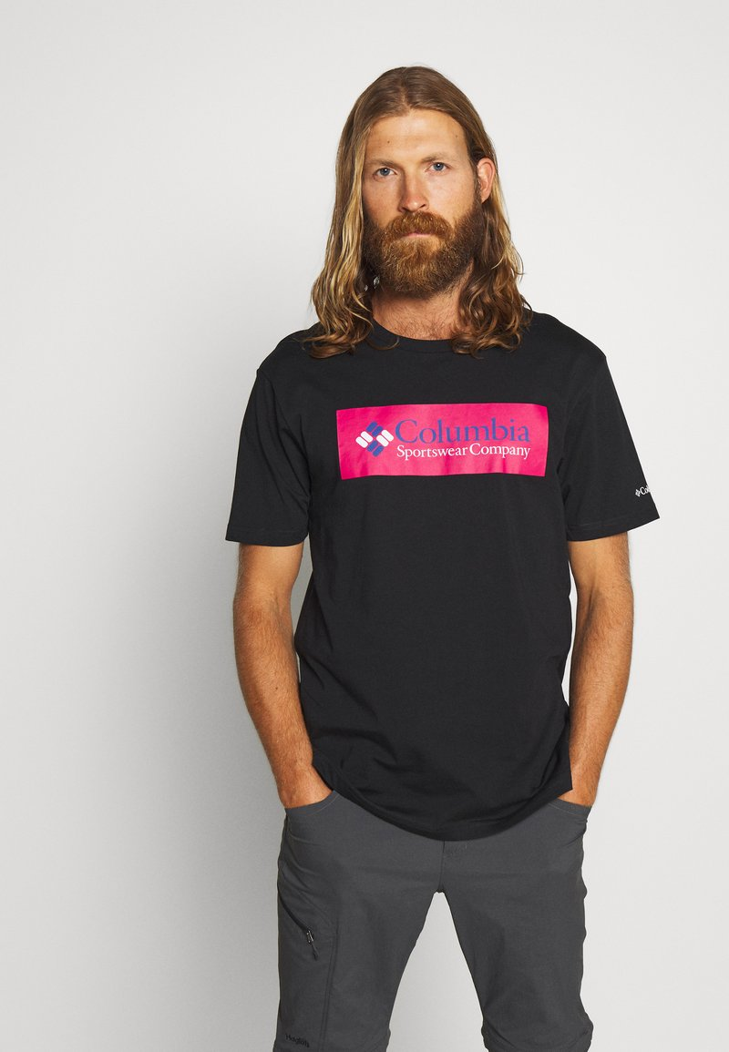 Columbia - NORTH CASCADES SHORT SLEEVE - Triko spotiskem - black/cactus pink/azul