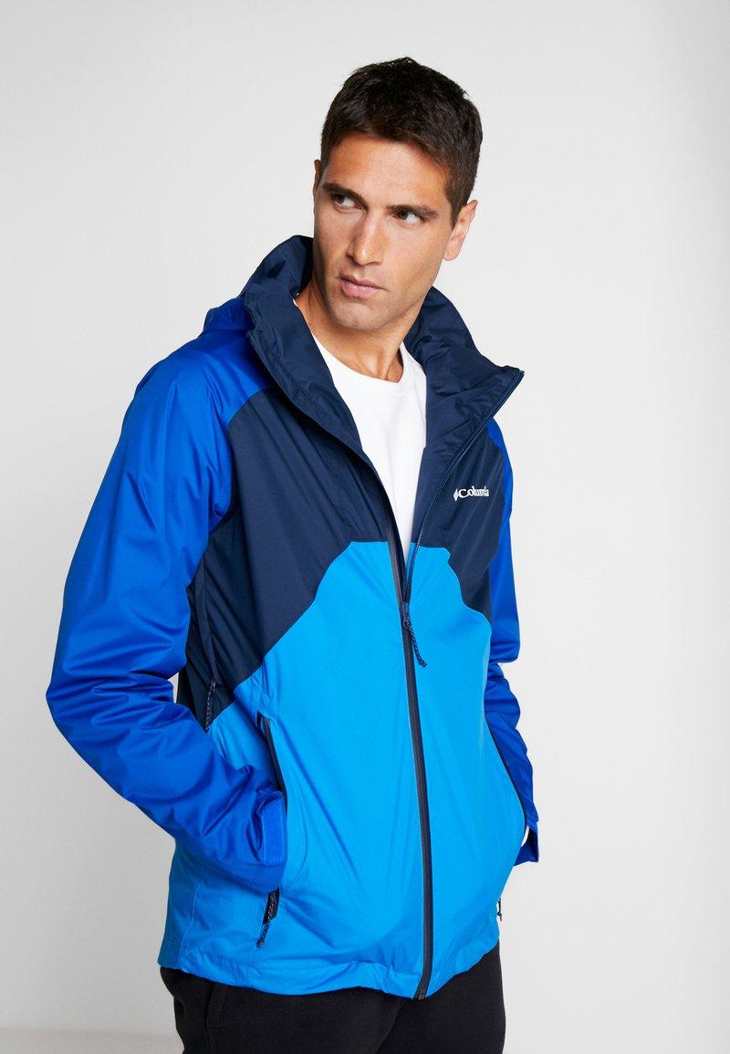Columbia - RAIN SCAPE™ JACKET - Impermeable - collegiate navy/azul, azure blue/collegiate navy zips