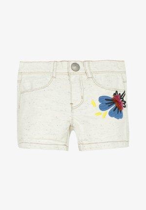 3D EMBROIDERY - Denim shorts - white