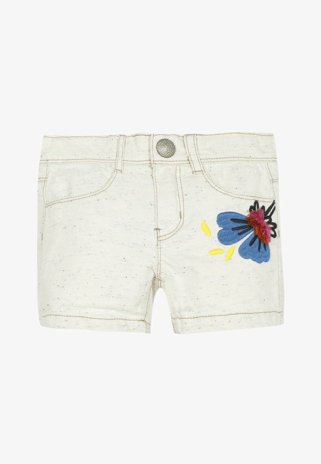 3D EMBROIDERY - Jeansshorts - white