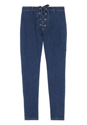 DENIM-LEGGINGS MIT ÜBERKREUZTEM DETAIL AM BUND - Leggings - Trousers - blu jeans