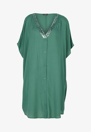 V-NECK KAFTAN WITH SEQUINS AND FRONT BUTTONS - Tunic - grün - 202c - paillettes palm green