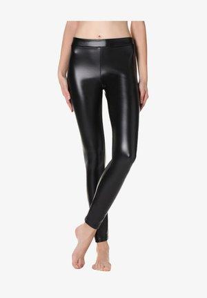 MIT LEDEREFFEKT - Leggings - Stockings - black