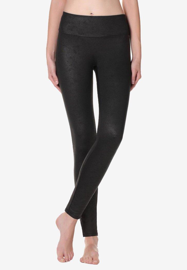 Calzedonia - MIT LEDEREFFEKT - Leggings - Stockings - black