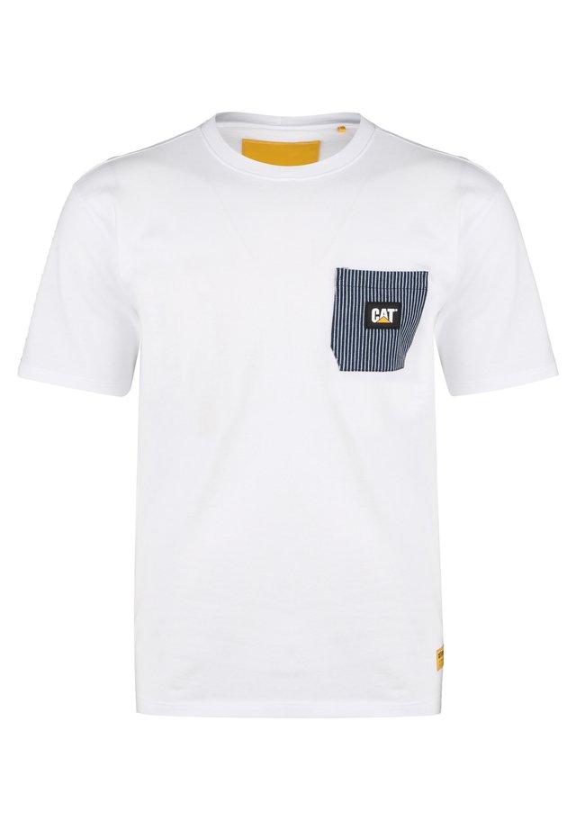 CATERPILLAR CAT 30S POCKET T-SHIRT HERREN - T-shirt imprimé - white