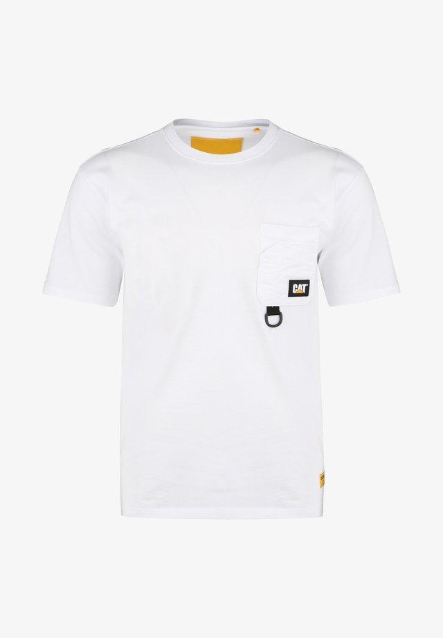 CATERPILLAR CATERPILLAR RING POCKET T-SHIRT HERREN - T-shirt imprimé - white