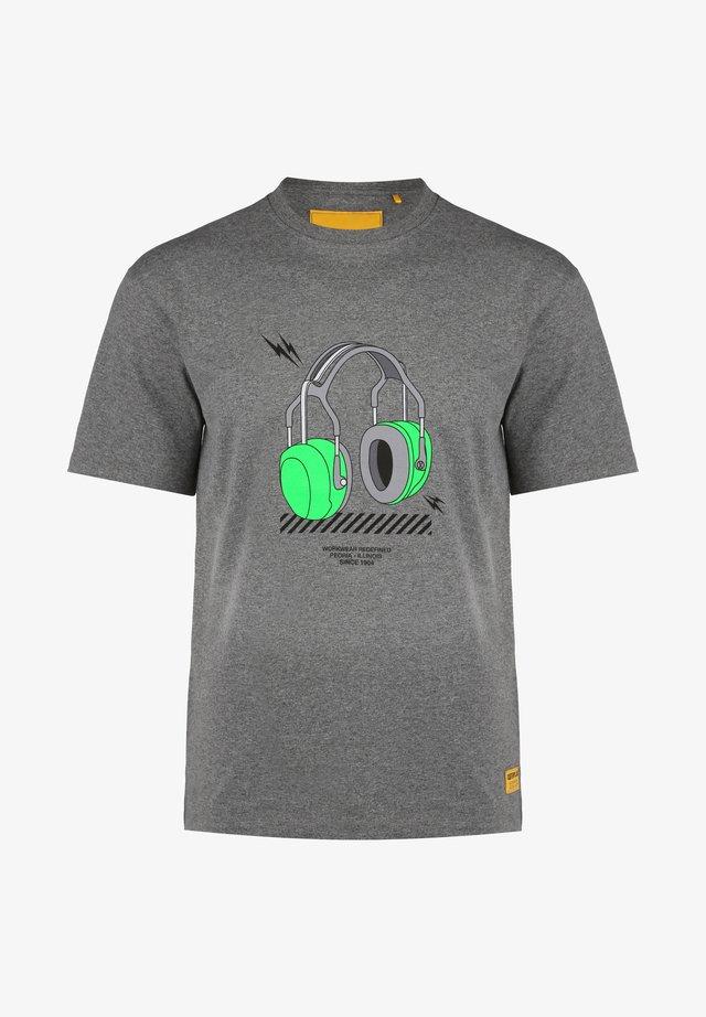 CATERPILLAR CAT HEADPHONES T-SHIRT HERREN - T-shirt imprimé - gray melange